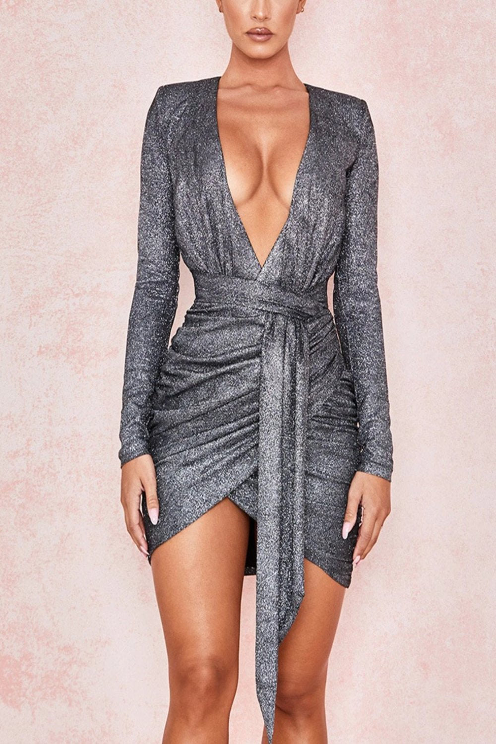 GRAPHITE SPARKLE WRAP DRESS