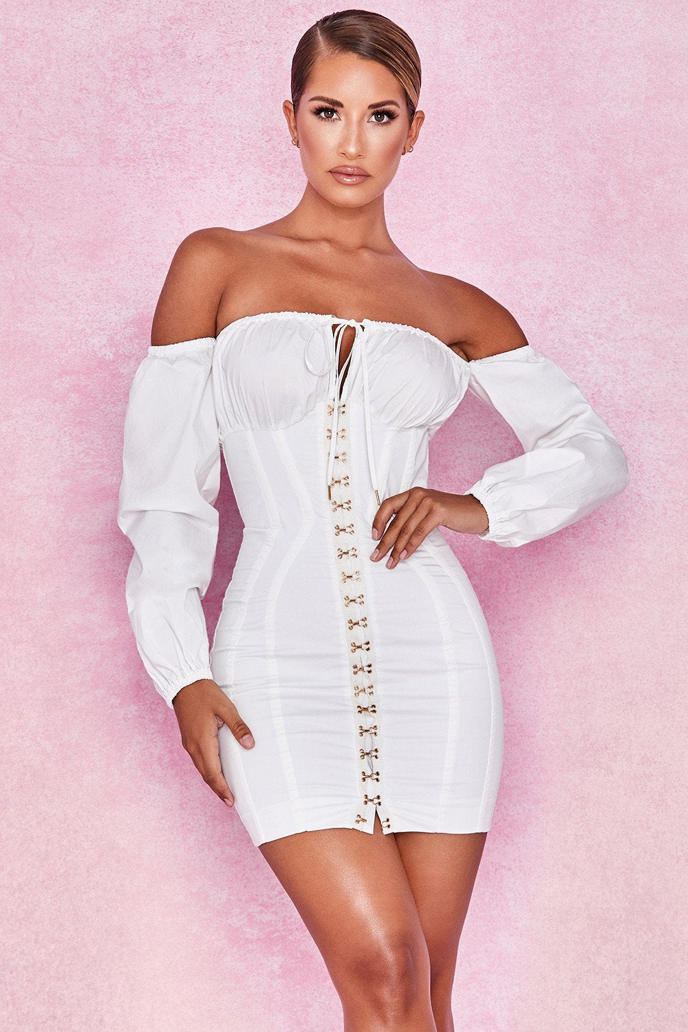 WHITE BONED CORSET DRESS