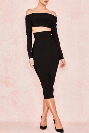 BLACK BANDAGE SUPER HIGH WAISTED PENCIL SKIRT