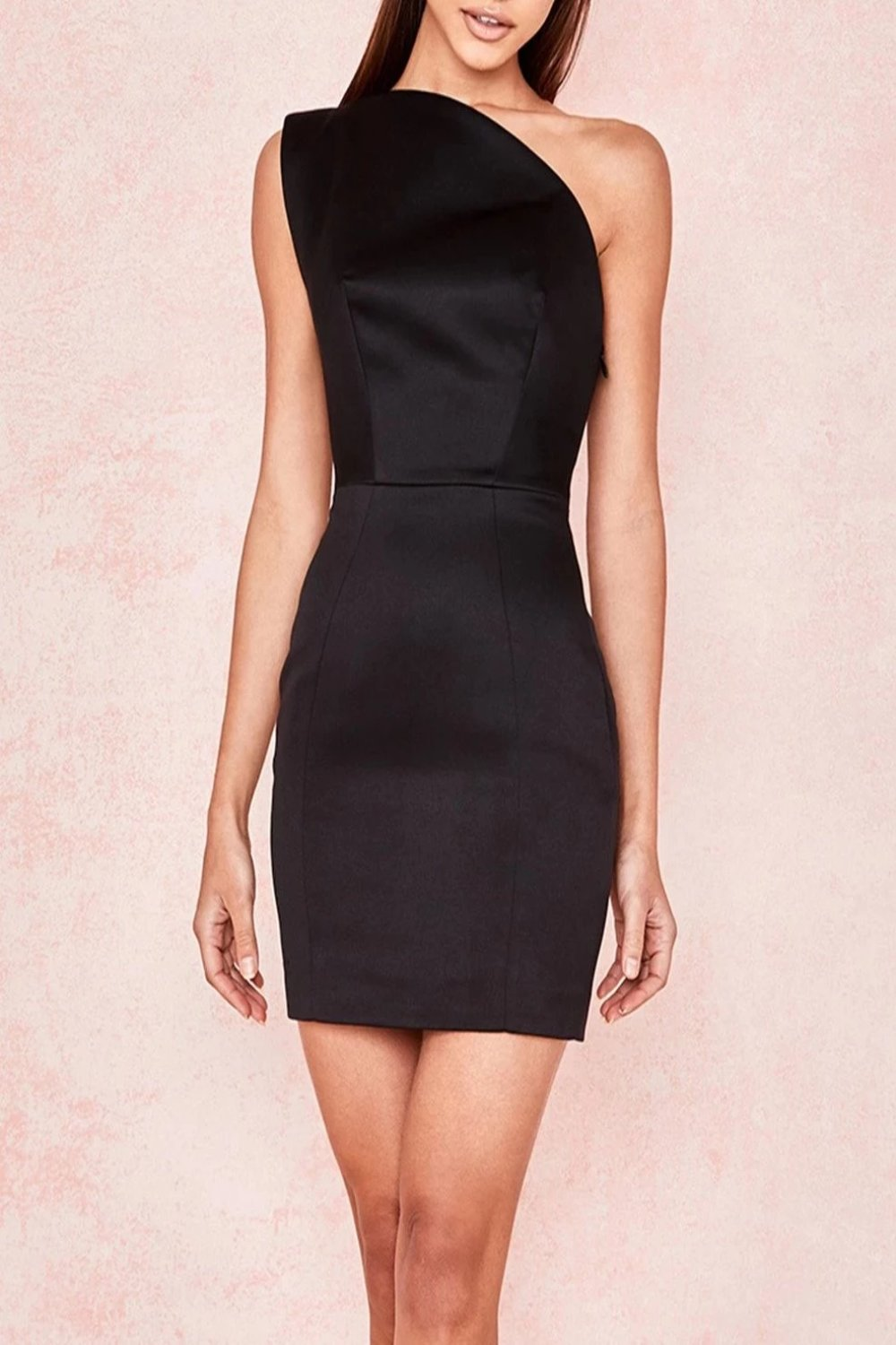 BLACK DUCHESS SATIN ONE SHOULDERED MINI DRESS