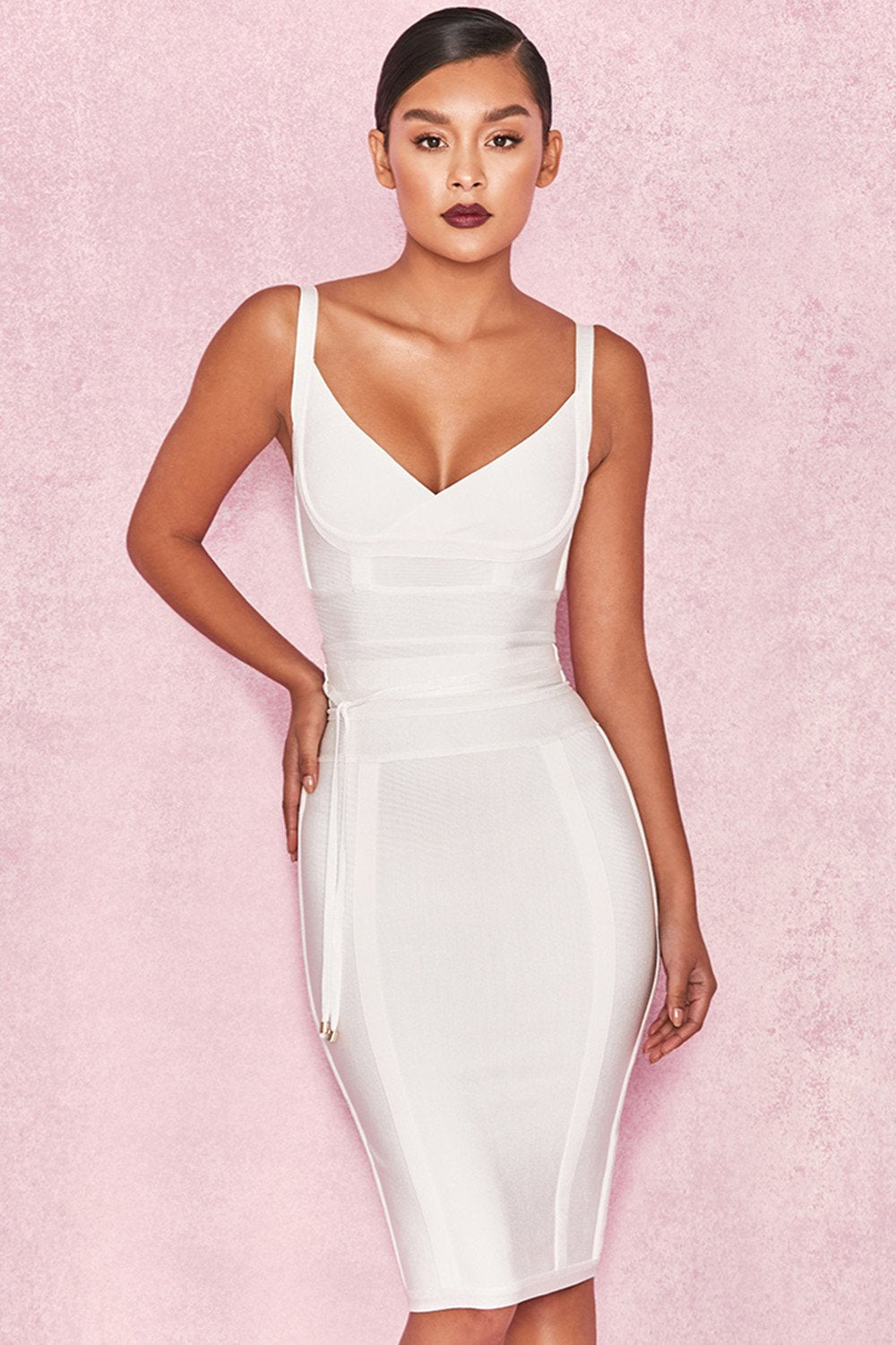 WHITE TIE WAIST BANDAGE DRESS