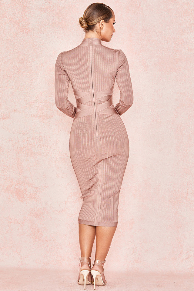 MINK CROSS STRAP RIBBED BANDAGE DRESS
