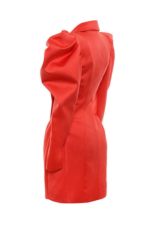 RED EXAGGERATED SLEEVE TUX DRESS
