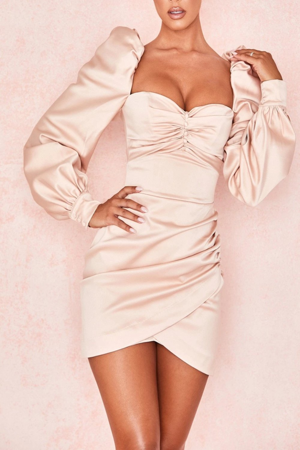 BLUSH SATIN PUFF SLEEVE DRESS