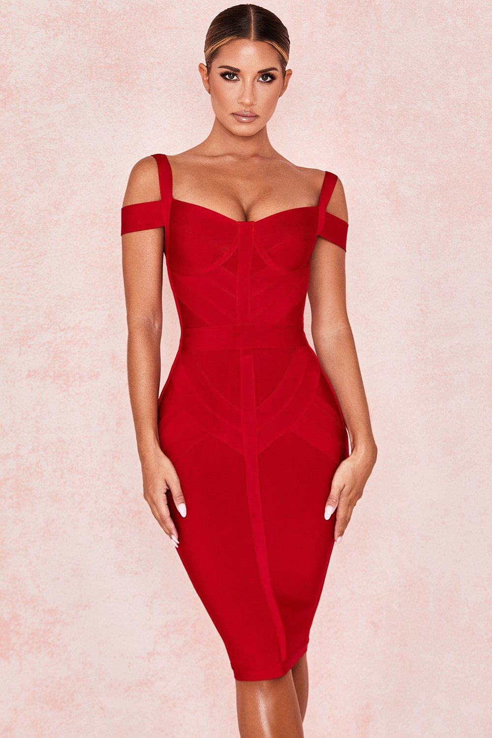 WINE OFF SHOULDER BANDAGE DRESS