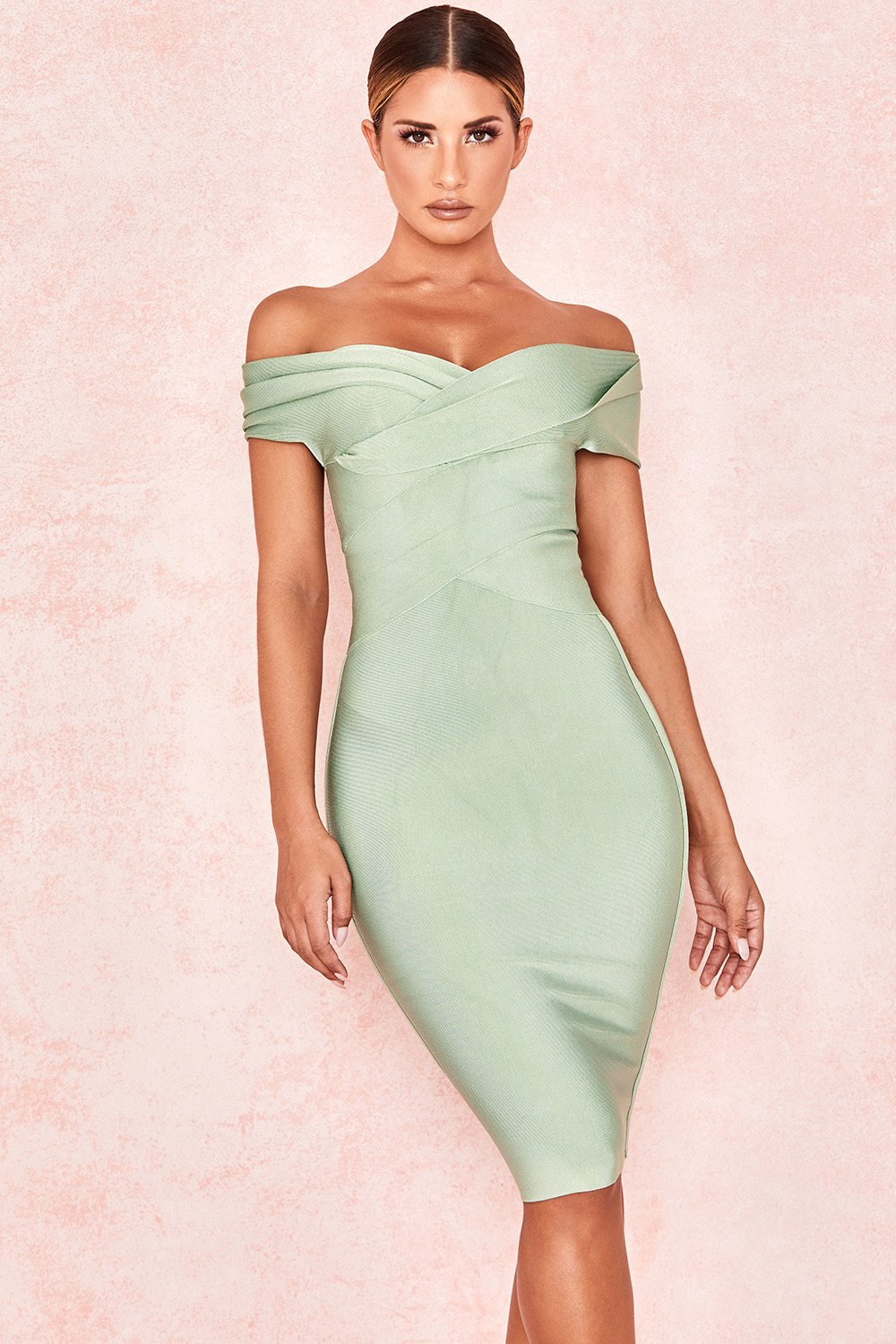 PISTACHIO OFF SHOULDER BANDAGE DRESS