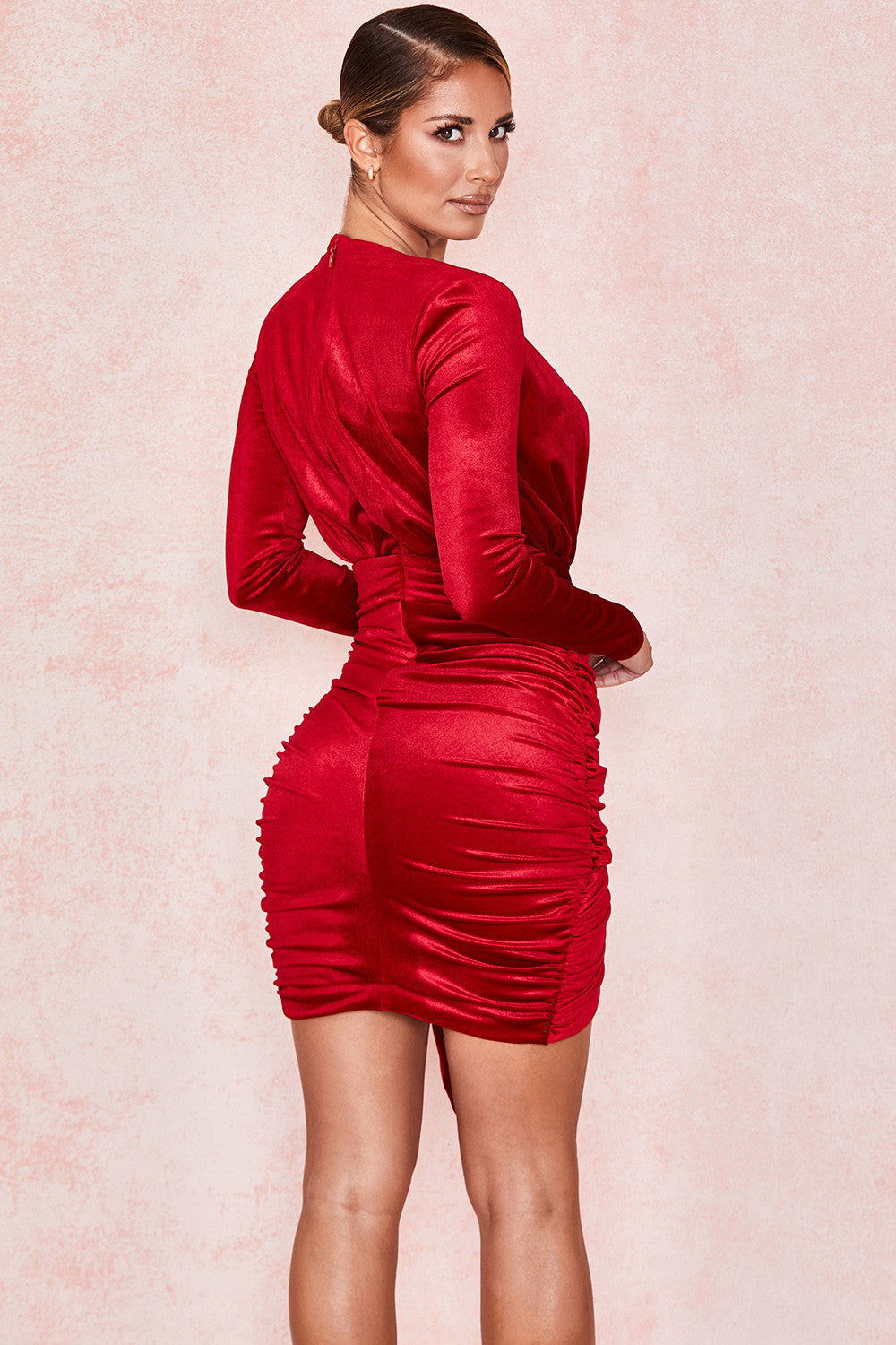 FARRAH RED VELVET GATHERED DEEP V MINI DRESS