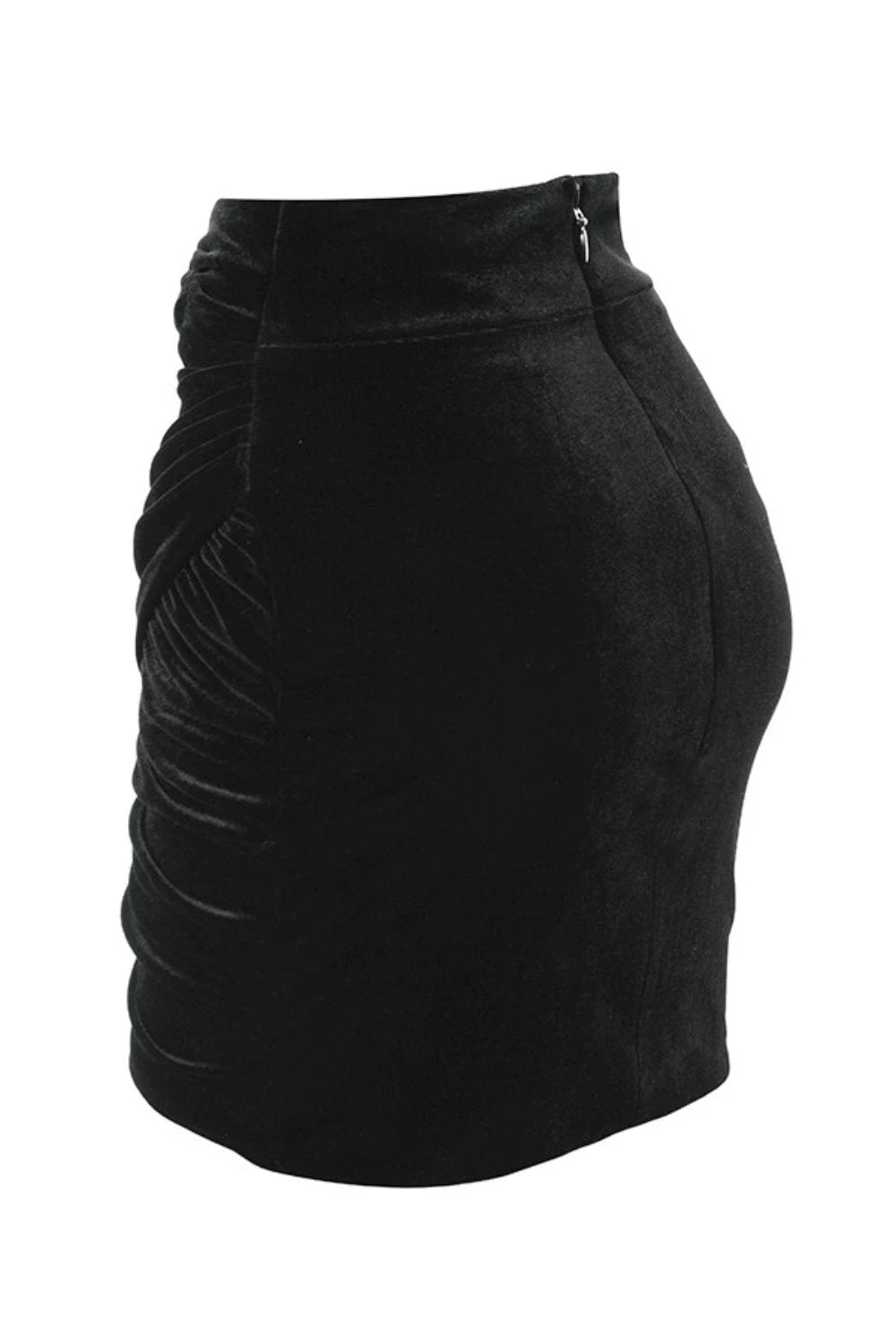BLACK GATHERED VELVET MINI SKIRT