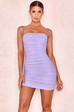VIOLET RUCHED ORGANZA MESH MINI DRESS
