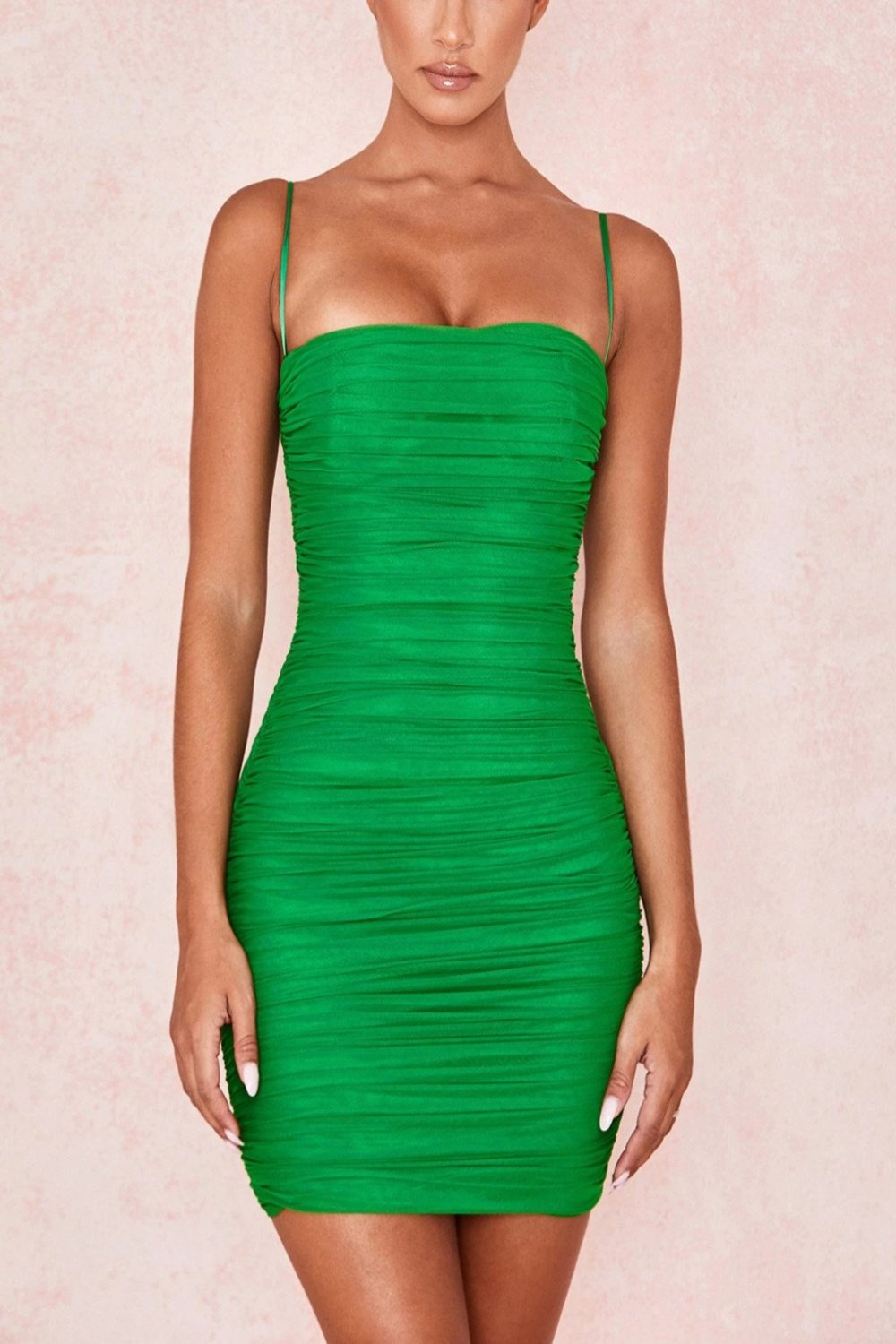 EMERALD GREEN RUCHED ORGANZA MESH MINI DRESS