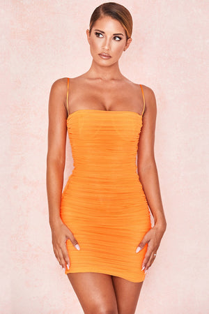 TANGERINE RUCHED ORGANZA MESH MINI DRESS