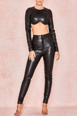 BLACK VEGAN LEATHER SHAPED BUST TOP - SALE