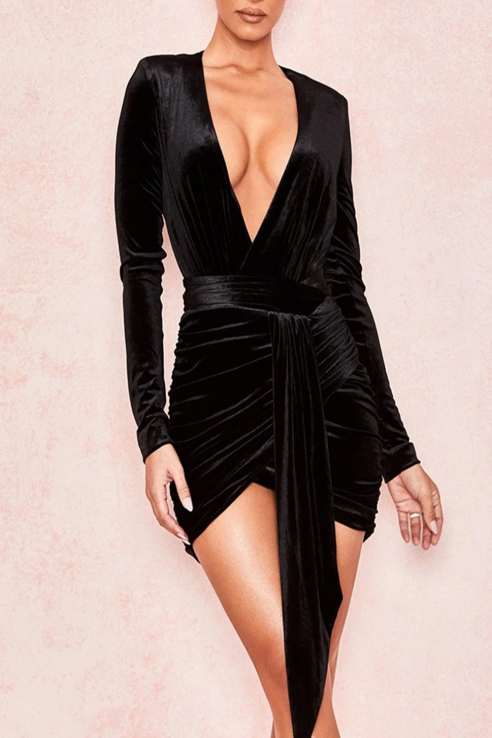 BLACK VELVET GATHERED DEEP V MINI DRESS