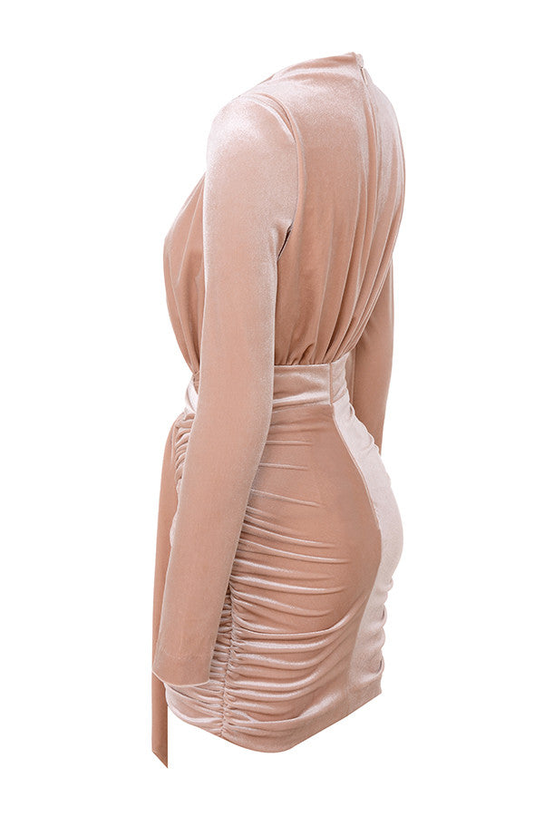 BLUSH VELVET GATHERED DEEP V MINI DRESS