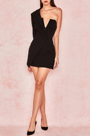 BLACK CREPE ONE SLEEVED TUXEDO DRESS