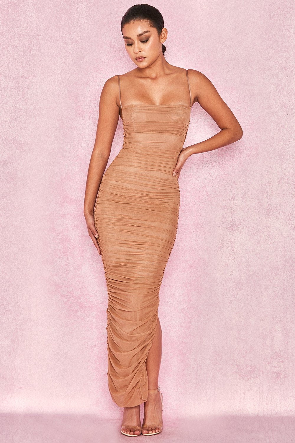 TAN ORGANZA MESH MAXI DRESS