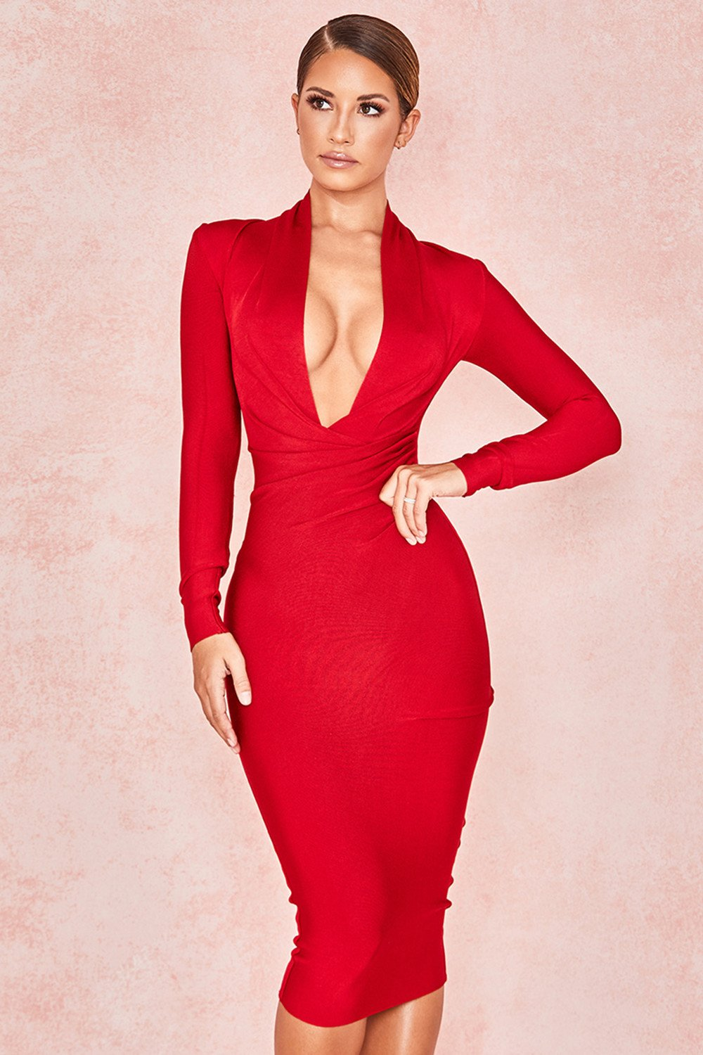 RED DRAPED BANDAGE DRESS