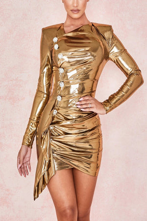 GOLD METALLIC LAME DRAPE DRESS
