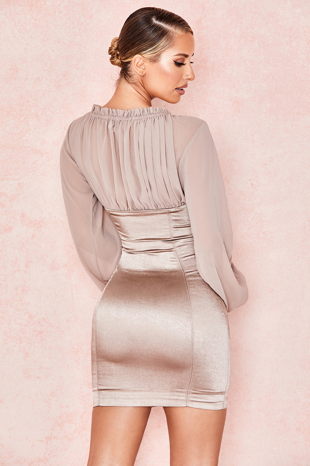 TAUPE GEORGETTE BUSTIER DRESS