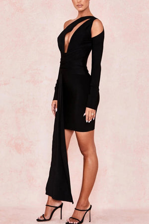 BLACK DRAPED BANDAGE DRESS