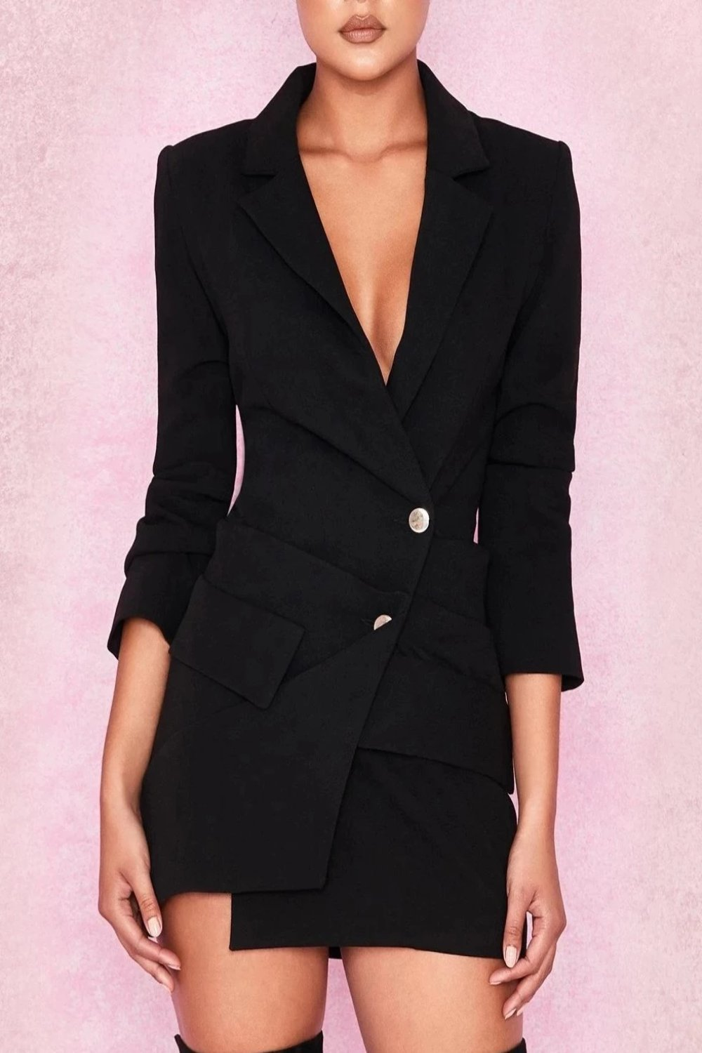 BLACK DRAPED TUXEDO DRESS