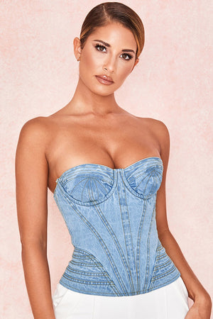 PALE DENIM TOPSTITCHED CORSET