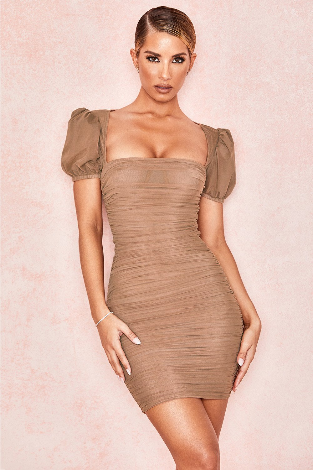 TAN PUFF SLEEVE RUCHED DRESS