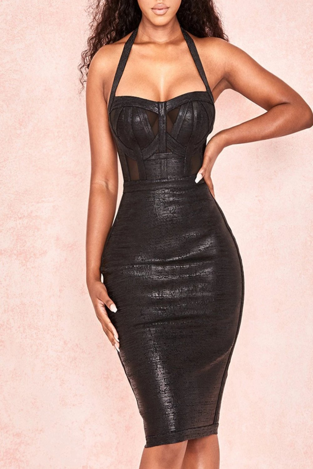 BLACK WETLOOK HALTER BANDAGE DRESS
