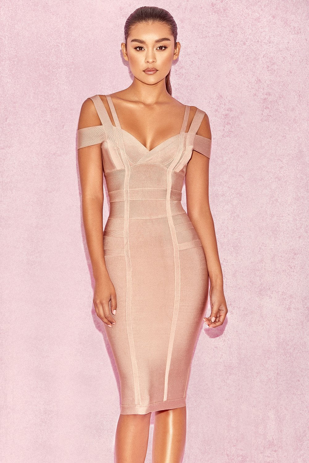 TAUPE OFF SHOULDER LUREX BANDAGE DRESS