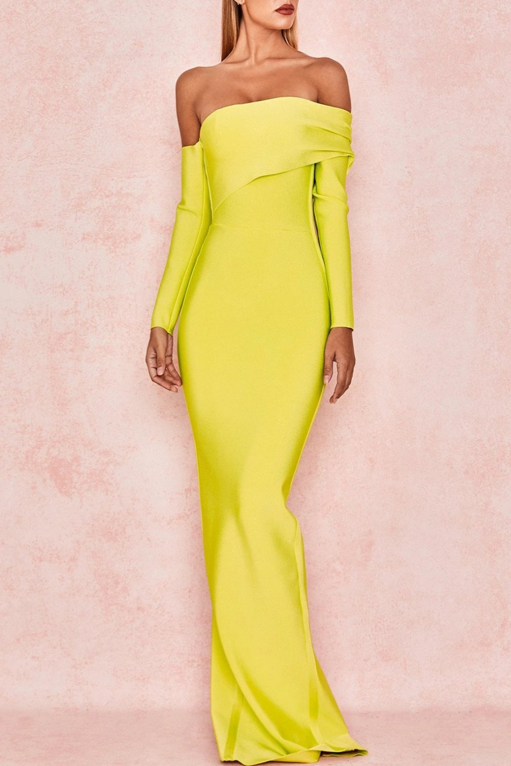 CHARTREUSE DRAPED SHOULDER MAXI BANDAGE DRESS
