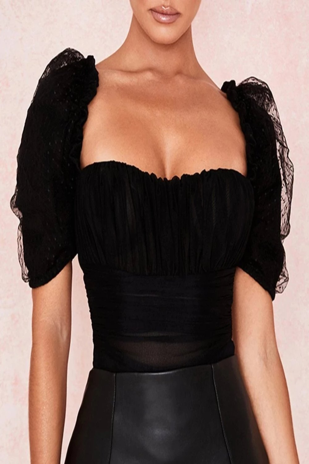 BLACK RUCHED MESH BODYSUIT