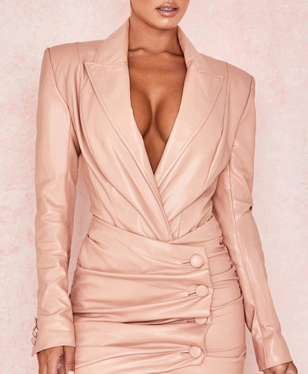 BLUSH STRETCH VEGAN LEATHER JACKET BODYSUIT