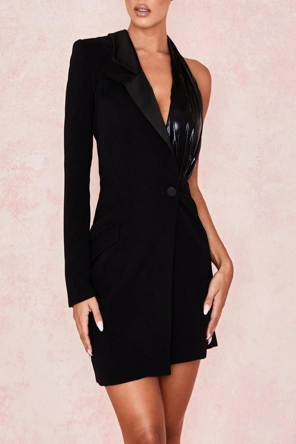 BLACK ONE SLEEVE BLAZER DRESS