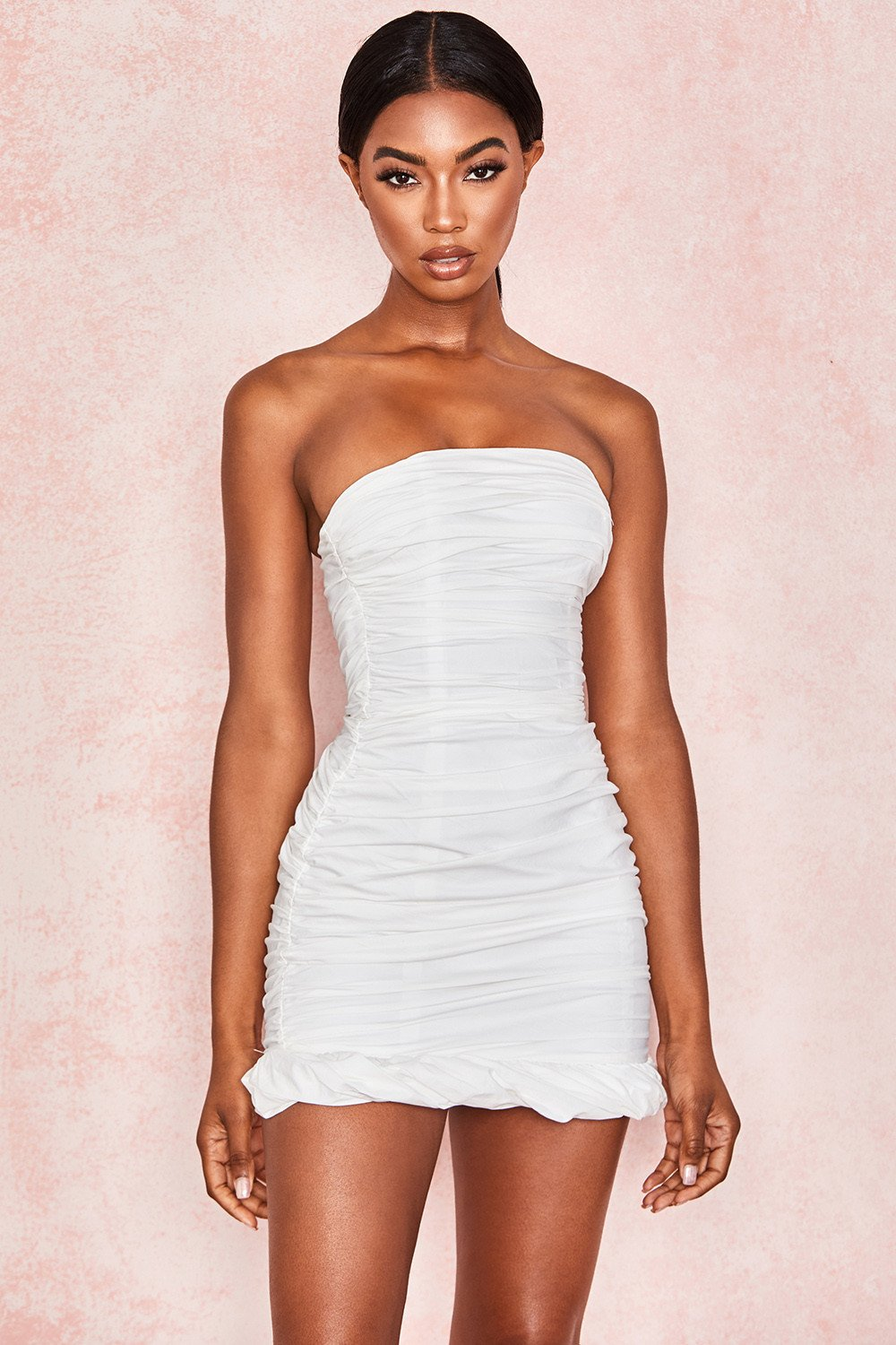WHITE COTTON RUCHED STRAPLESS DRESS