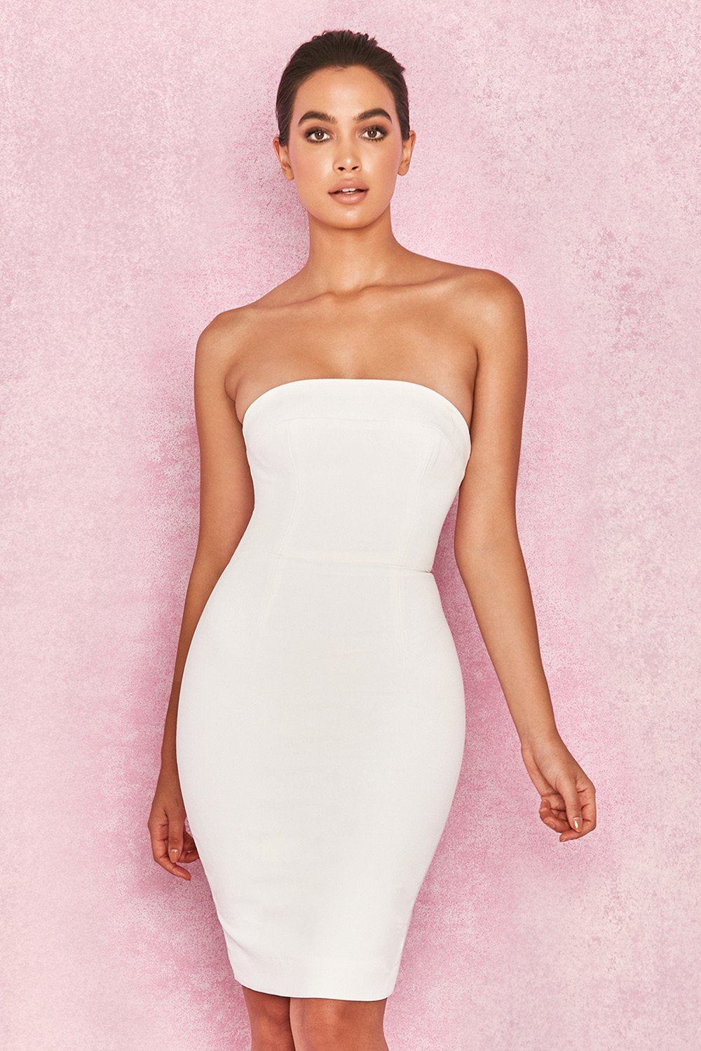 WHITE STRAPLESS STRETCH CREPE MINI DRESS - SALE