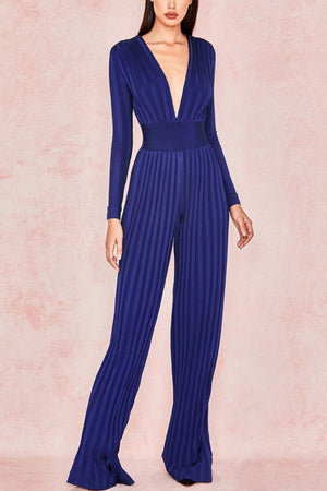 DEEP BLUE BANDAGE PLUNGE NECK JUMPSUIT