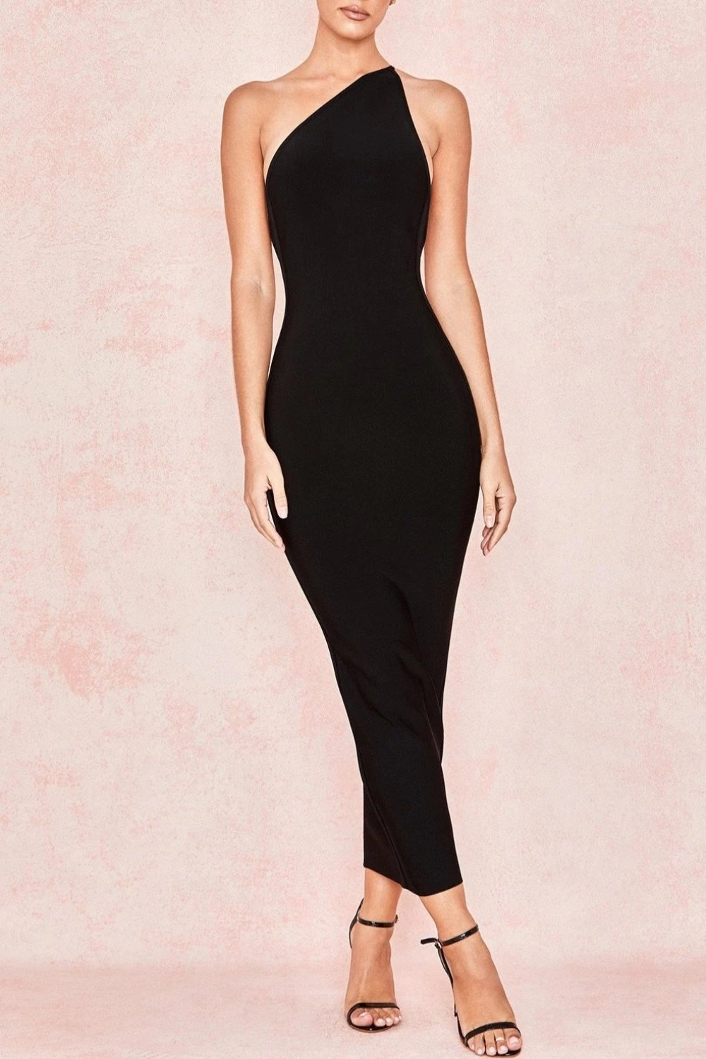 BLACK ONE SHOULDER BANDAGE DRESS
