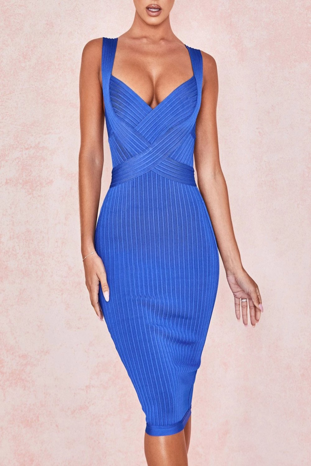 COBALT BLUE CINCH WAIST BANDAGE DRESS