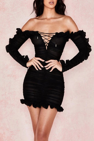BLACK FRILLED LACE UP DRESS