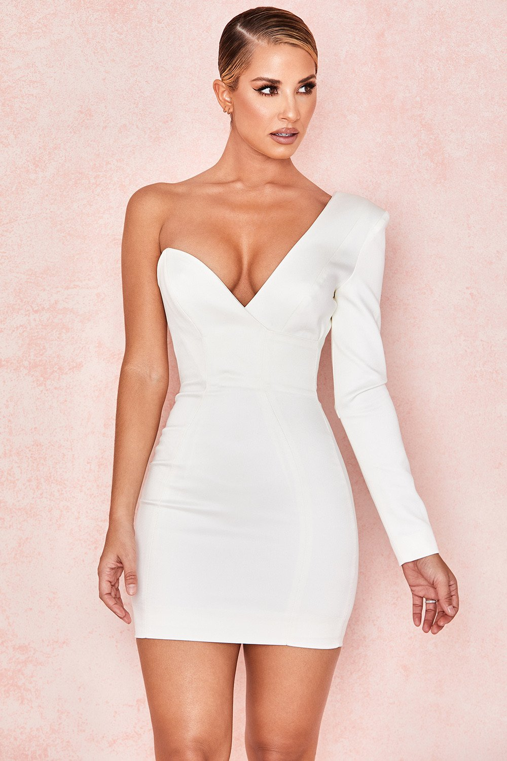 WHITE ONE SHOULDERED MINI DRESS