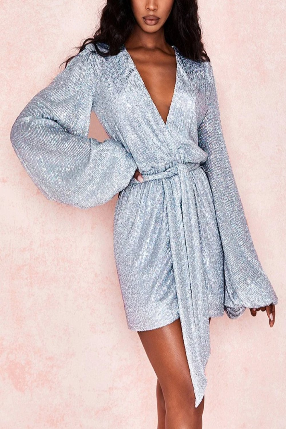HOLOGRAPHIC SILVER SEQUIN WRAP DRESS