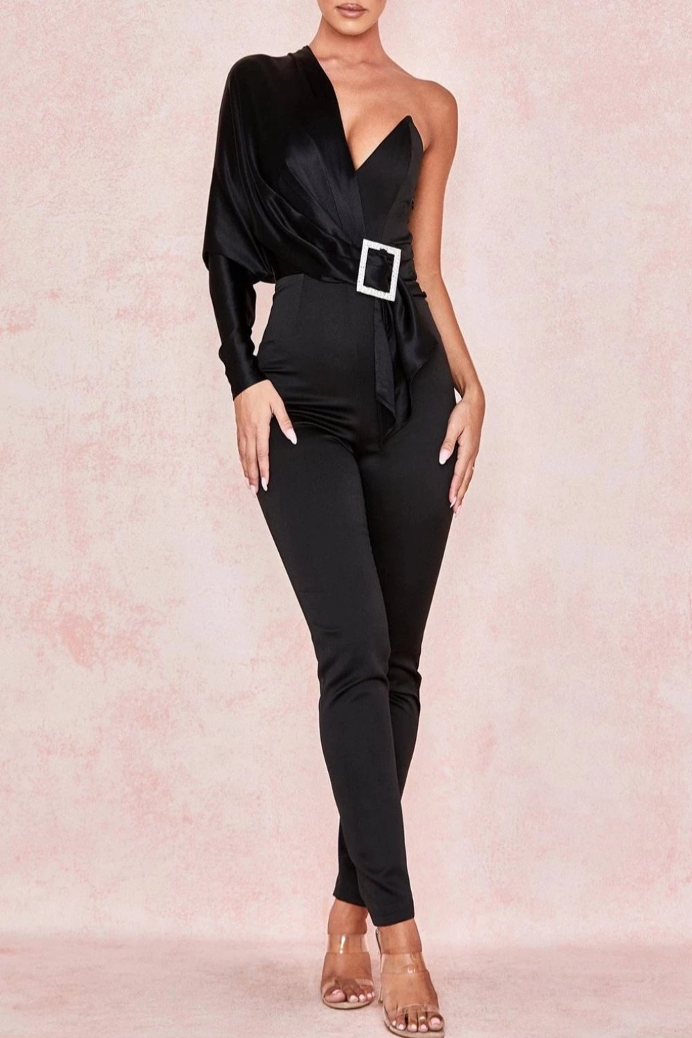 BLACK SATIN CRYSTAL BELT JUMPSUIT