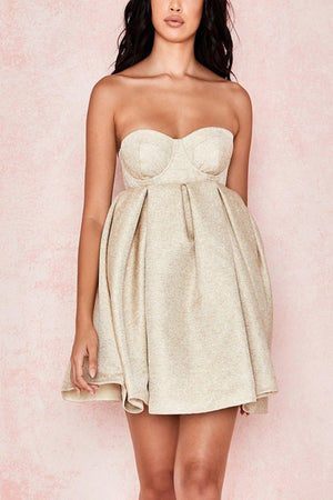 LIGHT GOLD STRAPLESS BUBBLE DRESS