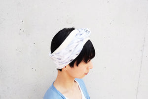 ヘアターバン / check & stripe-navy /