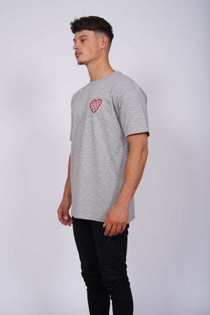 Oversized Grey Chest Heart T-Shirt