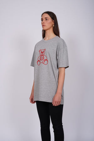 Oversized Grey Bear Heart T-Shirt