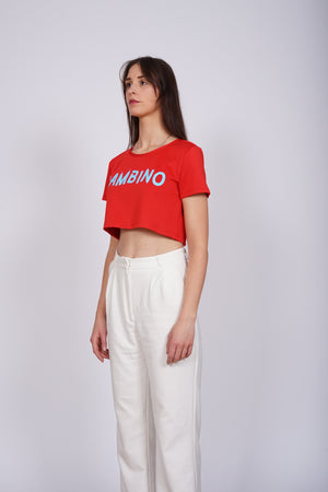 Short Crop Top Bambino Red