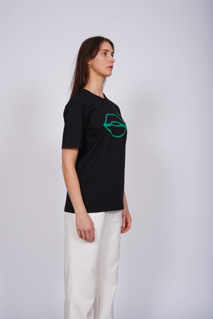 Lips Plastic Fantastic Green Black T-Shirt