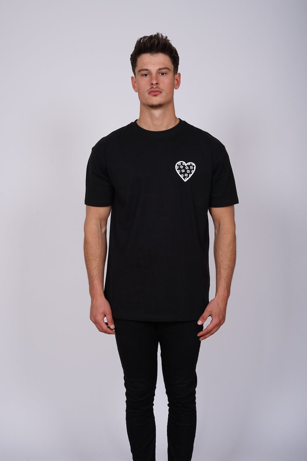 Oversized Black Chest Heart T-Shirt