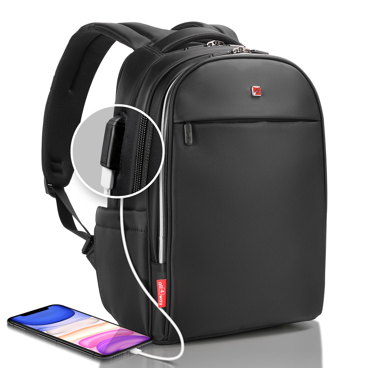 Best business laptop backpack, professional or gaming, for work, travel, college. Anti theft, with rfid protection and external usb port. 15 and 17 inch available in black color. Waterproof, stylish and lightweight.  Slim, minimalist, compact bag.